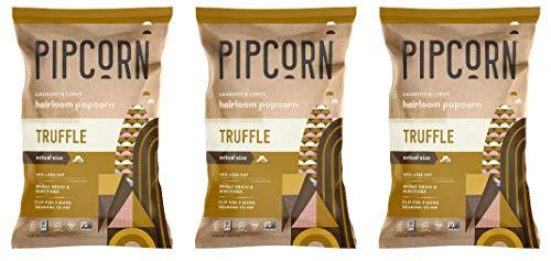 Pipcorn Heirloom Mini Popcorn - Truffle (3 Pack of 4.5oz Bags) - Vegan, No Artificial Anything, Non-GMO Heirloom Corn, No Preservatives, Soy Free, Zero Trans Fat, Gluten Free