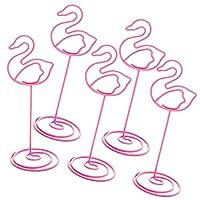 メモクリップ 写真ホルダー メタル パーティー プレゼント 金属線 装飾品 5枚入り 全6スタイル - フラミンゴ