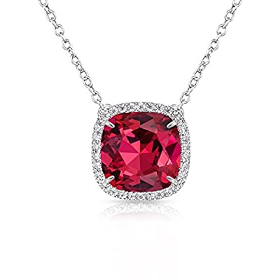 Alantyer Necklace, ?Best Wishes? Birthstone Necklace Made with Swarovski Square Crystal Birthstone Pendant Necklace Birthday Valentines Mothers Day Jewelry Gift for Women and Girls
