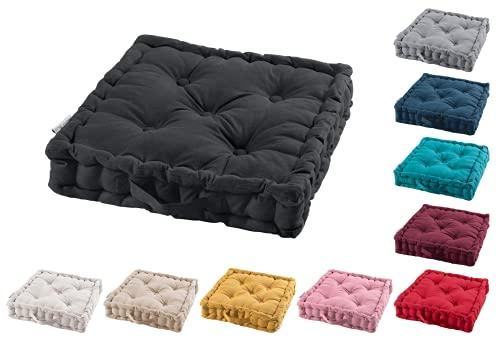 TIENDAEURASIA® Cojines de Suelo - 100% Algodón Lisa - Ideal para sillas, Bancos, palets, Suelos - Uso Interior y Exterior (Negro, 45 X 45 x 10 cm)