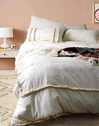 Flber Ivory Duvet Cover Tufted Boho Bedding Comforter Queen Size, 86in x90in