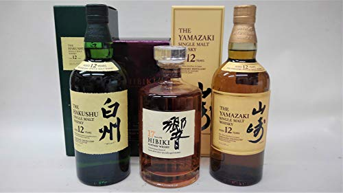 国産ウイスキー700ml.3本、飲み比べセット、(山崎12年、響17年、白州12年)