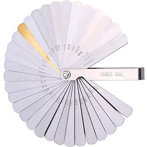 Galgas Para Medir ,Feeler 32 Cuchillas de Acero Inoxidable Medidor de Huecos de Medición Para Medir Ancho de Ancho/Espesor/Tamaños
