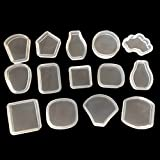 WEIYA 14 Unids/set Espejo Cristal DIY Triángulo Geométrico Joyas Cuadradas Decorativo Hecho A Mano Colgante Molde de Silicona