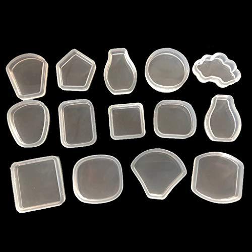 VIccoo Molde epoxi, 14 unids/Set Espejo Cristal epoxi DIY geométrico triángulo Cuadrado joyería Decorativo Hecho a Mano Colgante Molde de Silicona