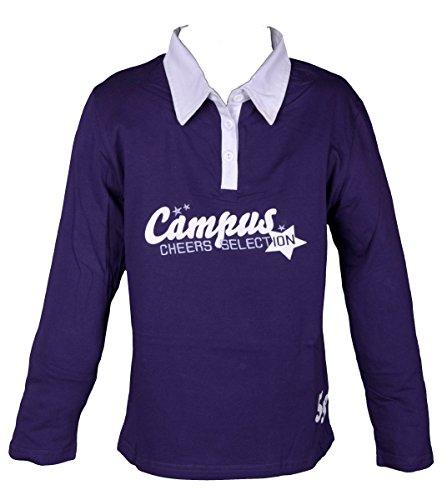 N.N. Kinder Mädchen Poloshirt Langarm Sweatshirt für Kids, Lila, 164