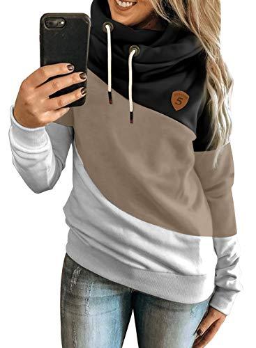 Happy Sailed Damen Warm Rollkragen Kapuzenpullover Farbblock Pullover Sweatshirt Casual Hoodie Shirt, 1schwarz, XL