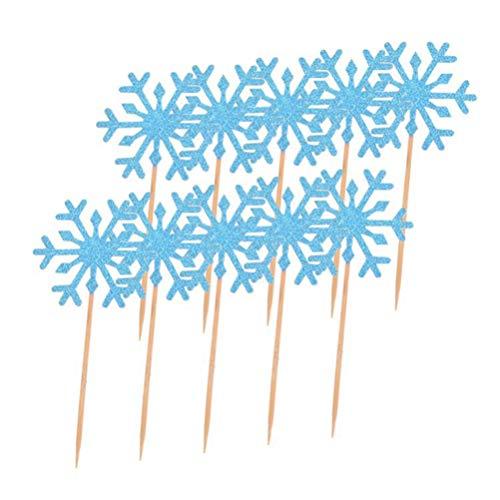 KESYOO 20Pcs Copo de Nieve Cupcake Toppers Glitter Snowflake Frozen Cake Topper...