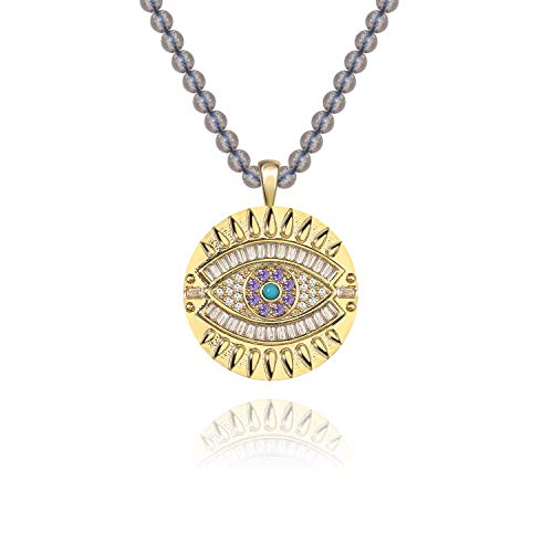 SISMIURRA 18K Gold Plated Evil Eye Necklace for Women Girls with Cubic Zirconia Gemstone Chain Jewelry Gift