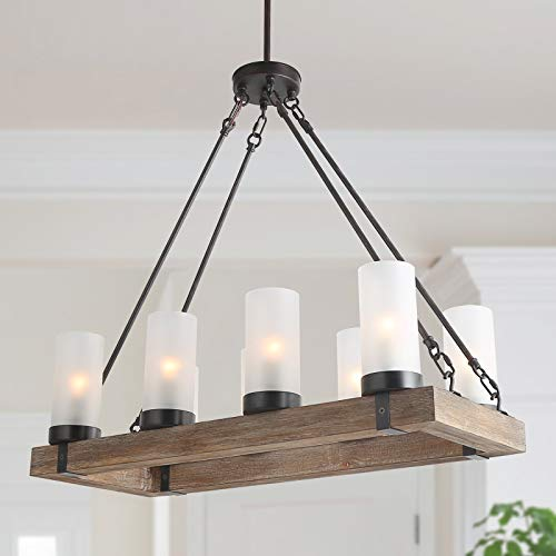 KSANA Wood Chandelier, Farmhouse Kitchen Island Lighting Fixture with with Frosted Glass Shade for Dining Room, Living Room and Bedroom