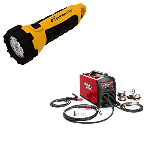 Toucan City LED Flashlight and Lincoln Electric 140 Amp LE31MP Multi-Process Stick/MIG/TIG Welder with Magnum Pro 100L Gun, MIG and Flux-Cored Wire, Single Phase, 120V K3461-1