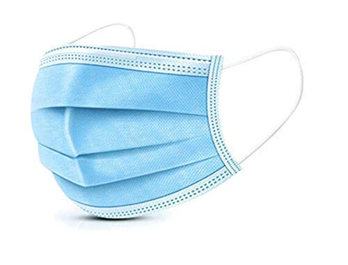 Lake Industries 3 Ply Disposable Face Mask | Elastic Earloop Straps | 100 pc package | Blue PPE Facial Protective Shields | Breathable and Lightweight covers both Mouth and Nose (100)