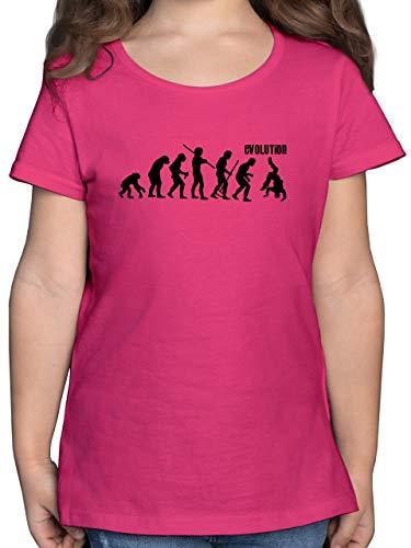 Evolution Kind - Evolution Hip Hop - 104 (3/4 Jahre) - Fuchsia - Rundhals - F131K - Mädchen Kinder T-Shirt