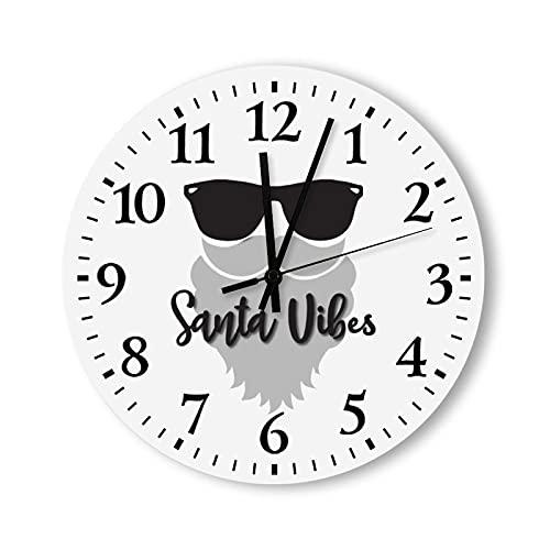 Reloj de pared redondo con números romanos para decoración del hogar, reloj analógico de madera, Santa Vibes Navidad Santa Claus Barba, gafas de sol para o vacaciones de cabra, 30 cm