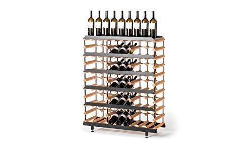 RAXI™ Presentation Premium - Botellero de madera de haya con diseño de lujo, ideal para presentar tu vino o vinothek – 45 botellas