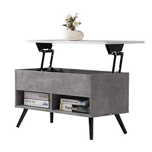 Edencomer Lift Top Coffee Table with Storage Shelf Hidden Compartment and 2 Lower Open Shelves for Living Room,Grey