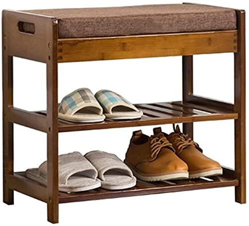 HYYDP Otomanas y reposapiés Taburete de almacenamiento de asiento de descanso 2 niveles Banco de almacenamiento de zapatos con cojín de asiento - Banco Otomano de bambú Banco de polvo Zapatos a prueba