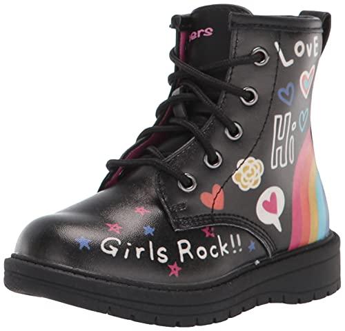 Skechers Kids Girls 302914N Combat Boot, Black/Multi, 7 Toddler