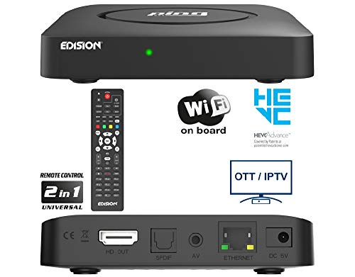 EDISION PING - OTT LINUX RECEIVER H265/HEVC schwarz, Stalker, Xtream, WebTV, Media Player, Wi-Fi on Board, USB, HDMI, LAN, Fernbedienung 2in1