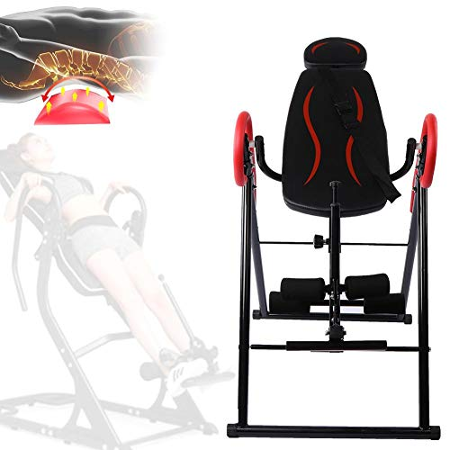 Find Bargain Zerodis Heavy Duty Foldable Fitness Gravity Inversion Table for Home Use Back Pain Reli...