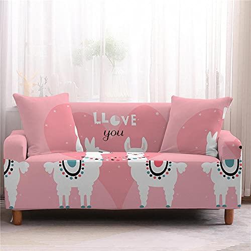 Fodera per Divano Alpaca Rosa, Bianco Copridivano 3D Stampato Fodere Copridivani Universale, Copridivani Elasticizzati Con 2 Fodera Cuscino 2 Posti
