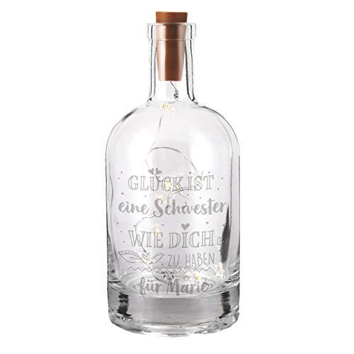Herz & Heim® dekoratives Kompliment-Geschenk - Flasche mit Gravur inkl. LED Flaschenlicht - Glück ist jemanden wie dich zu haben