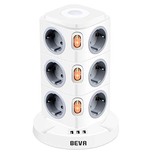 BEVA 12 Fach Mehrfachsteckdose mit Dimmbarer Nachtlampe und 3 USB Steckdosenturm Steckdosenleiste (2500W/10A) Multi Steckdosen Steckerleiste, Überspannungsschutz (mit 3 Schalter und 2m Kabel)