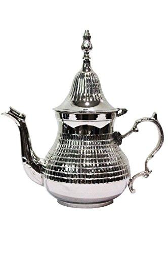 Marokkanische Teekanne aus Messing versilbert 400ml mit Sieb und Griff | Orientalische Kanne Elihan 0,4 L silberfarbig mit Deckel | Verschiedene Grössen | (400ml)