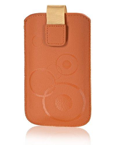 Handytasche Circle für Samsung Galaxy Note 3 Neo 3G N750 Handy Etui Schutz Hülle Cover Slim Hülle orange mit Klettverschluss