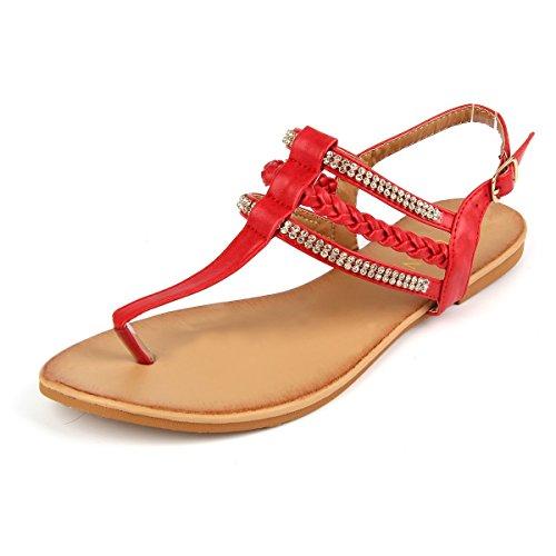 MUDAN Women's Strappy Rhinestones Thong Buckle Strap Gladiator Flat Sandals (8 B(M) US, RED)