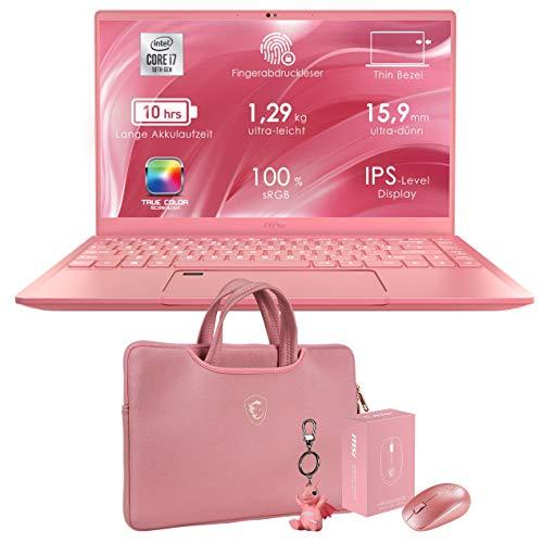 MSI Prestige 14 A10RAS-079P (35,6 cm/14 Zoll/Full-HD/100prozent sRGB) Creator Laptop (Intel Core i7-10510U, 16GB RAM, 512GB PCIe SSD, Nvidia GeForce MX 330 2GB, Windows 10) Pink