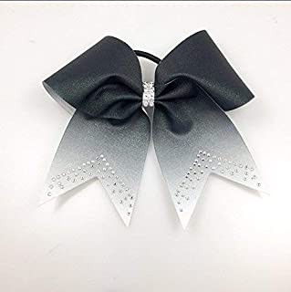 Arrow and Bowss Black Ombre Glitter Bow - Black Cheer Bow - Cheerleading Bows - Volleyball or Softball Team Bow - Black Rhinestone Bow