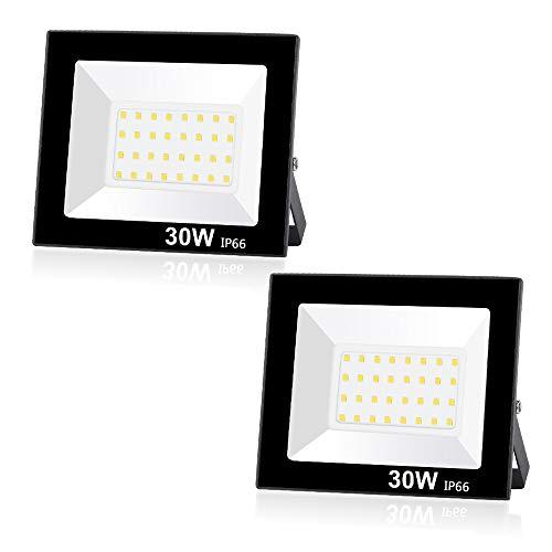 Lote de 2 Focos LED exteriores 30W 2400LM, Potente Luces Led Exterior IP66, Luz de Seguridad Blanca Fría 6000K para Terraza, Jardín, Patio, Parque, Garaje