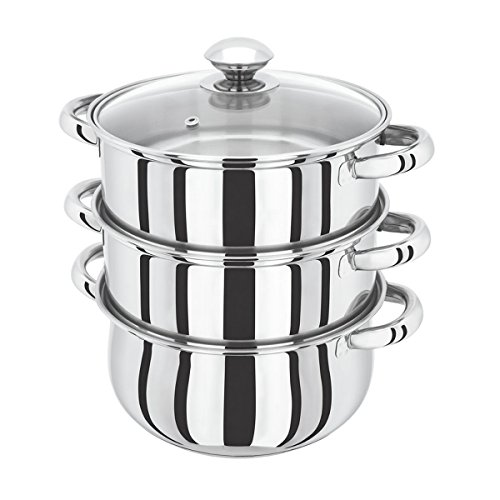 3Tier 24cm Induction Hob Steamer Multi Veg Cooker Stainless Steel Pot Pan Set with Lid