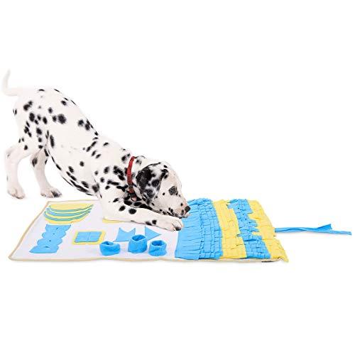 dibea Schnüffelteppich für Hunde Suchteppich Trainingsmatte (L) 100 x 60 cm gelb-blau