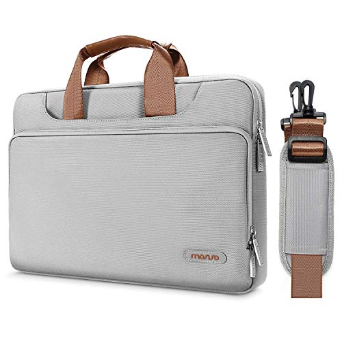 MOSISO 360 Protective Laptop Shoulder Bag Compatible with MacBook Pro 16 inch, 15 15.4 15.6 inch Dell Lenovo HP Asus Acer Samsung Sony Chromebook, Briefcase Sleeve with Back Trolley Belt, Gray