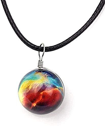 Collar Collar Collares Bola de cristal Colgante Universo Estrella Cadena de cuerda negra Encantos para pareja Patrón de galaxia Decoración Joyería-1 para mujeres Hombres Niños Niñas Regalo