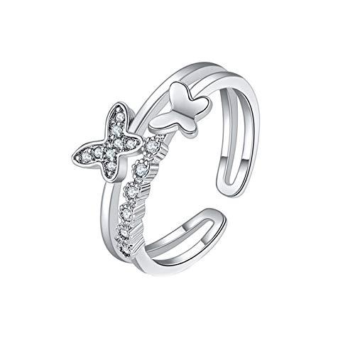 minjiSF Anillo abierto de mariposa de diamante, anillo de moda, ajustable, plata con abalorios, joya de compromiso, minimalista, regalo de alta calidad, anillos modernos (sliber)