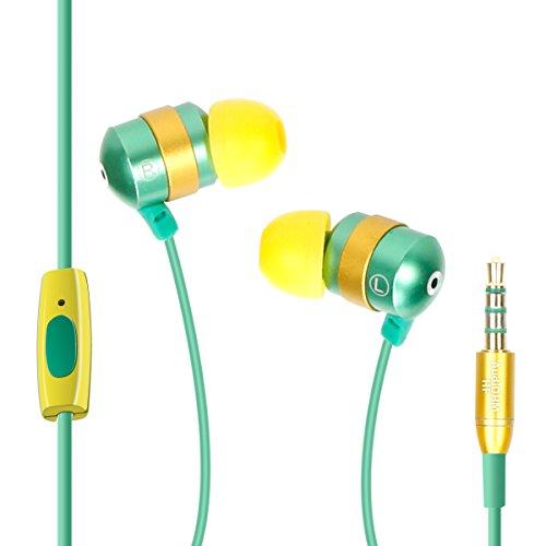 Gogroove AudiOHM HF  - Auriculares intrauditivos para fitness, con micrófono para llamadas manos libres, ajuste personalizado y cancelación de ruido, color verde
