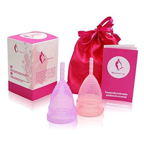 Exqline Menstruationstasse Set - Kleine 25ml x 2 Stück, Wiederverwendbares Menstruationstasse aus Medizinischem Silikon, Alternative zu Tampons/Binden