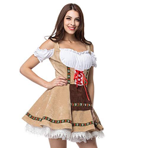 Sulifor Dirndl lang Damen Set 3-TLG. mit Bluse und Schürze Vintage Beer Festival bayerischen Kurzarm Kellnerin Cosplay Kostüm Kleid