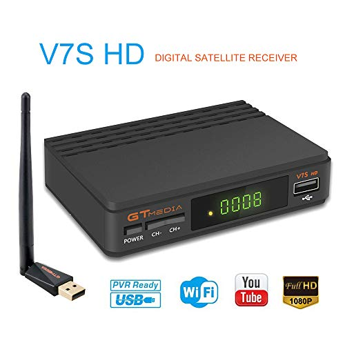 GT Media V7s HD DVB-S2 Decodificador de Receptor Satelital Freesat V7 HD Actualización con Antena USB WiFi FTA 1080P Full HD Compatible con Ccam, Newcam, PVR, Youtube, PowerVu, Dre y Biss Clave