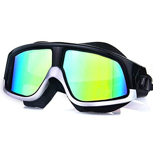 JSX Grote zwembril, spiegel, met rand zonder lekken, zwembril, helder design, anti-condens-bescherming en uv-bescherming