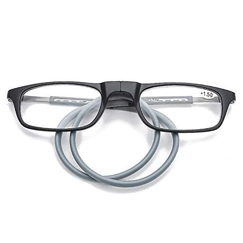 WYBF Hebilla de Cuello Colgante Gafas de Lectura Plegable Presbicia Hombres Mujeres Silicona Suave Magnética Gafas Vintage