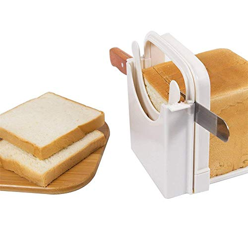 ZYZ 3 Pcs Bread Slicer Toast Slicer Foldable and Adjustable with 5 Slice Thickness Cutting Loaf Slicer Cutter Sandwich Maker Dishwasher Safety