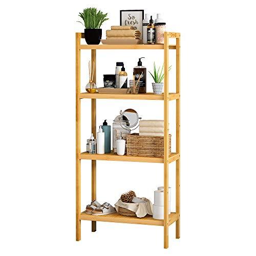 Dripex Bamboo Storage Shelf, Adjustable 4 Tier Bathroom Kitchen Shelving Unit Free Standing, Utility Organizer Bookshelf Flower Stand Display Rack 51.7x26x113cm