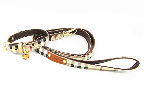 WELBLQ Set guinzaglio e Collare per Cani in Pelle, Collare Regolabile in Corda di trazione in Cuoio Adatto per Cani di Taglia Media e Piccola (S, M, L, XL)-off-White-M