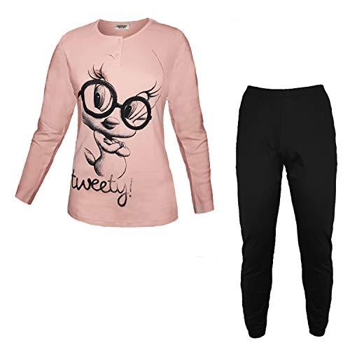 Looney Tunes Damen Schlafanzug aus Warmer Baumwolle Tweety Art. WE52043, Grau XL