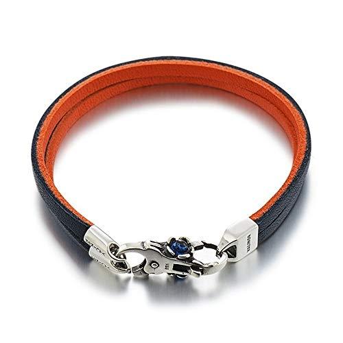 ZZXS Armband Blau Orange Doppelschicht Erste Schicht Leder Armband 925 Sterling Silber Armband 18CM Zwei Schichten