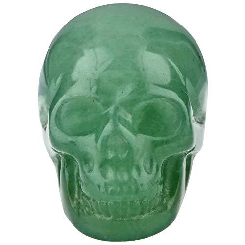 TUMBEELLUWA Carved Skull Healing Stone Crystal Quartz Figurine Energy Statue Reiki Home Decoration 1.5',Green Aventurine